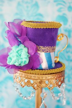 Purple Gold and Aqua Teacup Mini Top Hat by CupcakeWishesStore