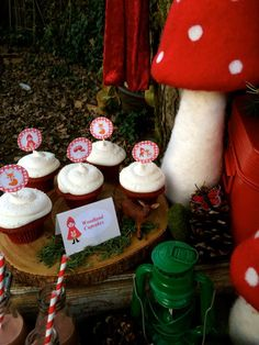 Little Red Riding Hood party cupcakes! See more party planning ideas at CatchMyParty.com!