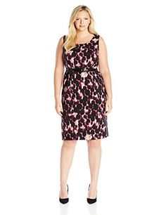 Kasper Womens Plus Size Leapord Print Shantung Dress Geranium Multi 18W -- Be sure to check out this awesome product.