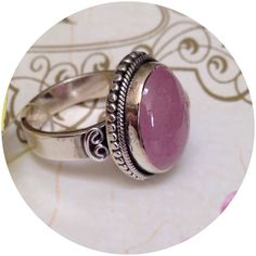 10.42 CT LIGHT PINK JADE, Sterling Unique huge 10.42 CT genuine light pink jade cabochon bezel set in .925 Sterling. Size 7. Beautiful setting, not bubble gum pink as usually seen.   ⭐️⭐️ OPEN TO OFFERS Jewelry