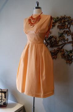 60s Dress / 60s Party Dress / Vintage 1960s Peach by xtabayvintage, $198.00
