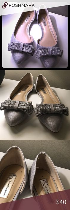 INC silver holiday party bow flats INC flats in silver with bows. Perfect flats for a fun outfit 🎉 INC International Concepts Shoes Flats & Loafers