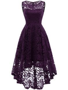 Market In The Box Women's Lace Dress Vintage Floral Sleeveless Hi-Lo Formal Party Dress Asymmetrical Cocktail Formal Swing Dress Plus Size Maxi Dresses, Short Dresses, Casual Dresses, Cheap Dresses, Short Purple Bridesmaid Dresses, Elegant Dresses, Lace Bridesmaids, Bridesmaid Gowns, Party Dresses For Women