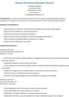 sample warehouse specialist resume - Warehouse Specialist