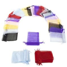 "Wedding Gift:Lot of 50 4"" x 6"" Drawstring Organza Storage Bags (Mixed Colors) by Brybelly"