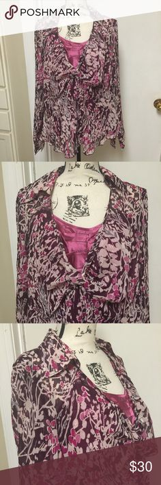"""Lane Bryant Sheer Blouse with Cami Top Size 18/20 Sheer Blouse with Cami Top Floral Gold threading ❣️ twisted open front detailing ❣️ Flare hemline ❣️ Bust 24"""" ❣️ Mauve pink❣️ 97% polyester 3% metallic fiber ❣️ Lane Bryant Tops Blouses"""