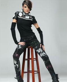Colored Masquerade Beauty Print Skinny Pants | BlackFive