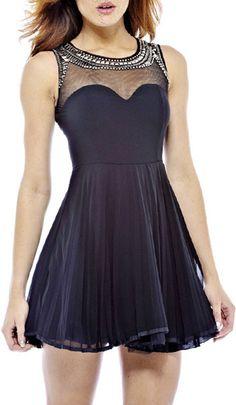 Black Sheer Neck Sweetheart Fit & Flare Dress