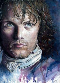 1 x poster Jamie Fraser / Sam Heughan Outlander artwork