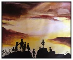 Kids silhouette with clouds - P27 This beautiful original acrylica painting was painted by Ugandan artist, Davis Muwumba