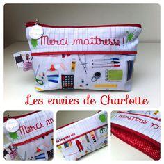 Trousse cadeau maîtresses motif 'accessoires de trousse' rouge Baby Couture, Couture Sewing, Sewing Crafts, Sewing Projects, Diy Crafts, Diy Cadeau Maitresse, Crafts For Kids, Arts And Crafts, Charlotte