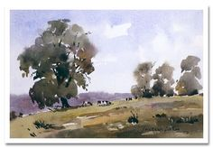 """Cows in a Landscape"", James Fletcher-Watson - Watercolour artist, paintings and art prints Watercolor Painting Techniques, Watercolor Landscape Paintings, Watercolor Trees, Watercolor Artwork, Watercolor Artists, Seascape Paintings, Oil Painting Abstract, Watercolor And Ink, Landscape Art"