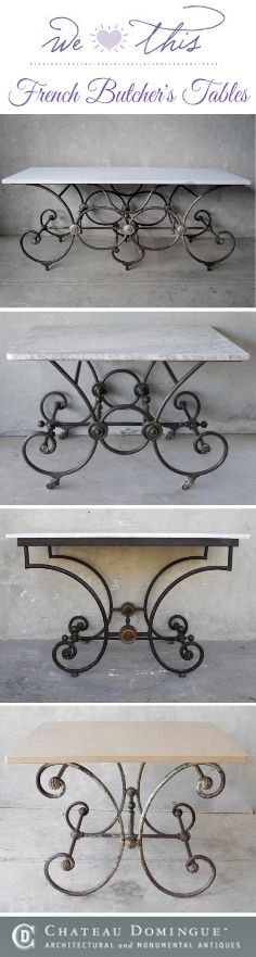 Our blog roundup of the most French Butcher's Tables we have found on our travels! Take inspiration from a 19th century French Butcher's Shop! Perfect design for kitchen table or dining room table. Looking for cool kitchen ideas? Add a French country kitchen look to your interior design plans with any of Chateau Domingue's favorite pieces!