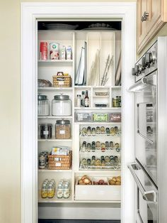 In a small kitchen, removing the pantry door allows for easier access and keeps the room bright and airy: http://www.bhg.com/kitchen/storage/pantry/walk-in-pantry-cabinet-ideas/?socsrc=bhgpin032215brightandefficient&page=9