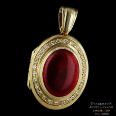 Exquisite in 18kt yellow gold this Guilloche' style enameled locket by Charles…