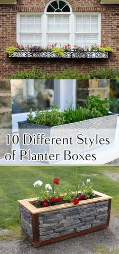 Planter Box Styles and Ideas for planter boxes of your yard or home. Beautiful Ideas!