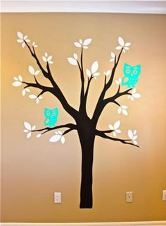 Baby Owl Nest Nursery Wall Decor in Cream, Turquoise Blue and Brown: The idea of an owl baby nursery theme really appealed to us in that it is an ideal gender neutral theme and this worked for us since we chose not to find