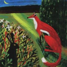 Nocturnal Encounter by Mary Sumner. A greeting card featuring a red fox and hare. Much of Mary's work is based on the Mid-Devon landscape and animals she encounters on her daily walks.