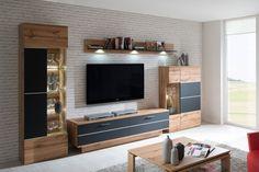 obývačka: Alfonso vyhotovenie:Dub wotan / Čierna supermat Tv Panel, Living Room Tv Unit Designs, Tv Units, Furniture, Tvs, Home Decor, Wall, Interior Design, Tv Feature Wall