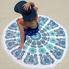 GreForest Round Beach Towel With Tassel Green&White &Blue... https://www.amazon.com/dp/B01H4KR2H2/ref=cm_sw_r_pi_dp_x_ulypybK9XWGNE