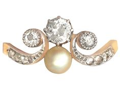 Antique 0.53 ct Diamond and Pearl, 18 ct Yellow Gold Dress Ring