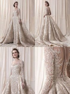 champaign gold wedding dress eslieb luxurious Lace Wedding dress full bead and crystal wedding dresses long sleeve wedding dress - dresses tight off the shoulder Crystal Wedding Dresses, Long Wedding Dresses, Long Sleeve Wedding, Princess Wedding Dresses, Designer Wedding Dresses, Bridal Dresses, Crystal Dress, Princess Ball Gowns, Cinderella Wedding