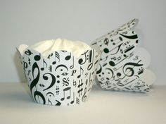 NEW Black & White Music Notes Cupcake Wrappers by PartyTreatsShop