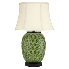 Oriental Furniture Green Feather Design Porcelain Jar Table Lamp | from hayneedle.com