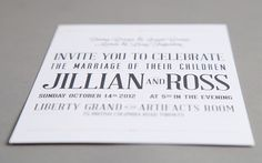 Grey typographic wedding invitation