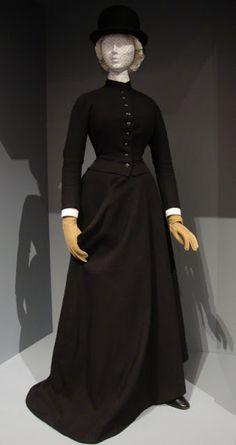 Wool riding habit, Europe, English lady's bowler hat, c.1890.
