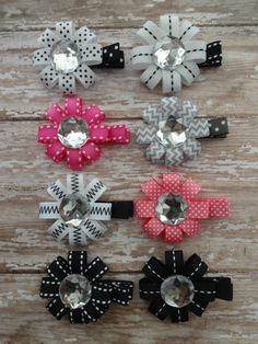 Hair Bow Big Gem Crystal Hair Bow Choose One by marimaricollection