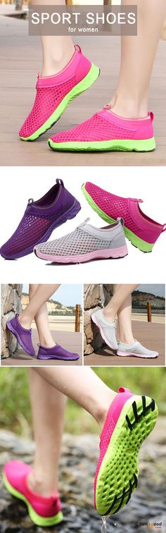 US$24.86 + Free shipping. Size: 5~9. Color: Light Pink, Purple, Rose Red. Fall in love with casual and sport style! Women Slip On Breathable Mesh Non Slip Soft Light Outdoor Shoes.