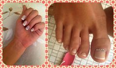 Gel manicure & semi-gel pedicure french style. #nailart #nailstrass #gelfeet #gel #french