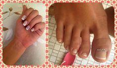 Gel manicure & semi-gel pedicure french style. #nailart #nailstrass #gelfeet #gel #french