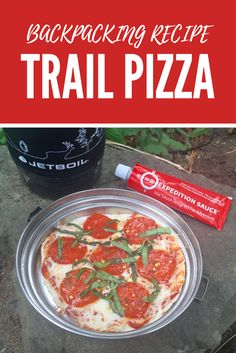 Trail Pizzas made on flour tortillas is one of our favorite backpacking meals. #backpacking #recipe #hiking #pizza