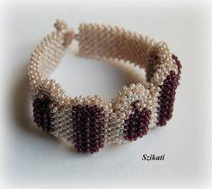 Beige/Eggplant Beaded Bracelet, Seed Bead Bracelet, Statement Beadwork, Elegant Jewelry, Unique Gift for Her, Right Angle Weave, OOAK