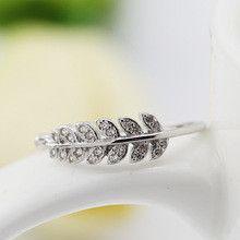 Genuine Solid 100% 925 Sterling Silver Rings For Women Inlaid Stone Cz Zirconia Diamond Opening Adjustable Leaves Design