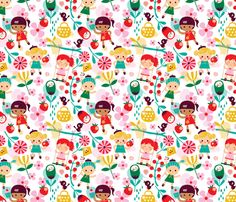 I don't think a cuter fabric exists... dreaming of summer fabric by bora on Spoonflower - custom fabric