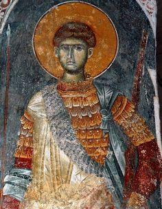 St Demetrius Russian Icons, Byzantine Art, Angel Statues, Color Pallets, Fresco, Roman, Medieval, Saints, Painting