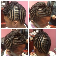 Cornrows / braids on child's hair