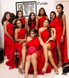 Gorgeous skin tones in red 😍😍😍 One Shoulder Bridesmaid Dresses, Bridesmaid Dress Styles, Bridesmaid Outfit, Bridesmaids, Bridesmaid Inspiration, Wedding Inspiration, Off Shoulder Fashion, Dress Images, African Fashion