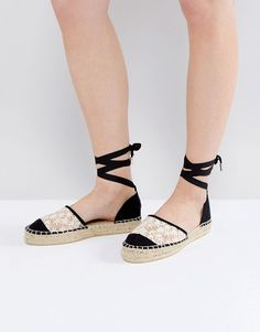 Get this Miss Kg's basic espadrilles now! Click for more details. Worldwide shipping. Miss KG Lorna 2part Flower Espadrille - Black: Espadrilles by Miss KG, Textile upper, Two-part design, Ankle-tie fastening, Woven sole, Wipe clean, 100% Textile Upper. Part of the Kurt Geiger family of luxury footwear, Miss KG shoes look to unique touches and individual twists. With inspiration taken from the front rows at fashion week and flea market rummages, Miss KG adds bold embellished to complete the…