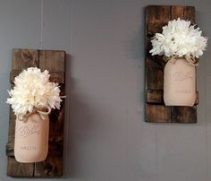 Rustic Mason Jar Sconce- Country Wall Decor - Wall Sconce - Rustic Wall Decorations - Wood Wall Decor - Housewarming Gift - Home Decor by 441Creations on Etsy