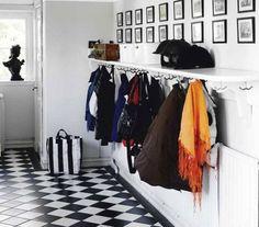 Stylish Storage: 10 Best Ways to Organize Your Entryway (hooks on underside of a shelf! Hallway Coat Rack, Hallway Shelf, Küchen Design, Interior Design, Home Design, Design Trends, Jones Design Company, Apartment Entryway, Enchanted Home
