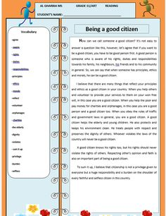 Being a Good Citizen Reading Comprehension - My Reading Kids Kids Reading, Free Reading, English Phonics, Free Invitation Templates, Good Citizen, Math Formulas, English Reading, Hyung Sik, Being Good