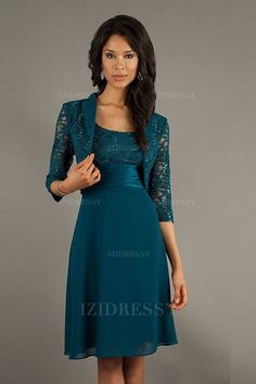 A-Line/Princess Straps Knee-length Chiffon Lace Mother of the Bride Dress