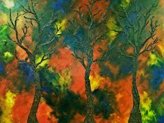 Landscape-Abstract-Painting-Very-Large-Vivid-Colors-Trees-Red-Yellow-Blue-Green-Orange-Brown by ArtbySFWhite