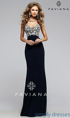 Floor Length Faviana Formal Gown with Strapless Neckline