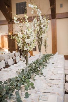 """We love these photos by Julie Afflerbaugh Photography of Shannon & Brian's wedding in Vail this July featuring our beautiful """"Peony"""" overlay linen in Ivory-Gold. Definitely adds a soft floral touch to their natural-inspired event design accented by blues and soft pinks next to our classic Duchess Satin in White. https://www.facebook.com/MileHighCelebrations/posts/942684902473371 — at Donovan Pavilion.(480×720)"""