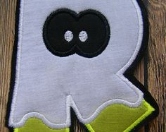 Little Boo Ghost~Personalized Initial~Machine Embroidered Applique~ Halloween Shirts/Costumes ~OOAK DIY Iron On Patch